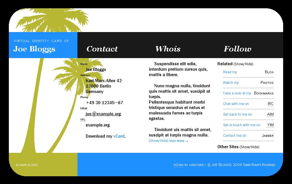 viCard Template Bildschirm Ansicht